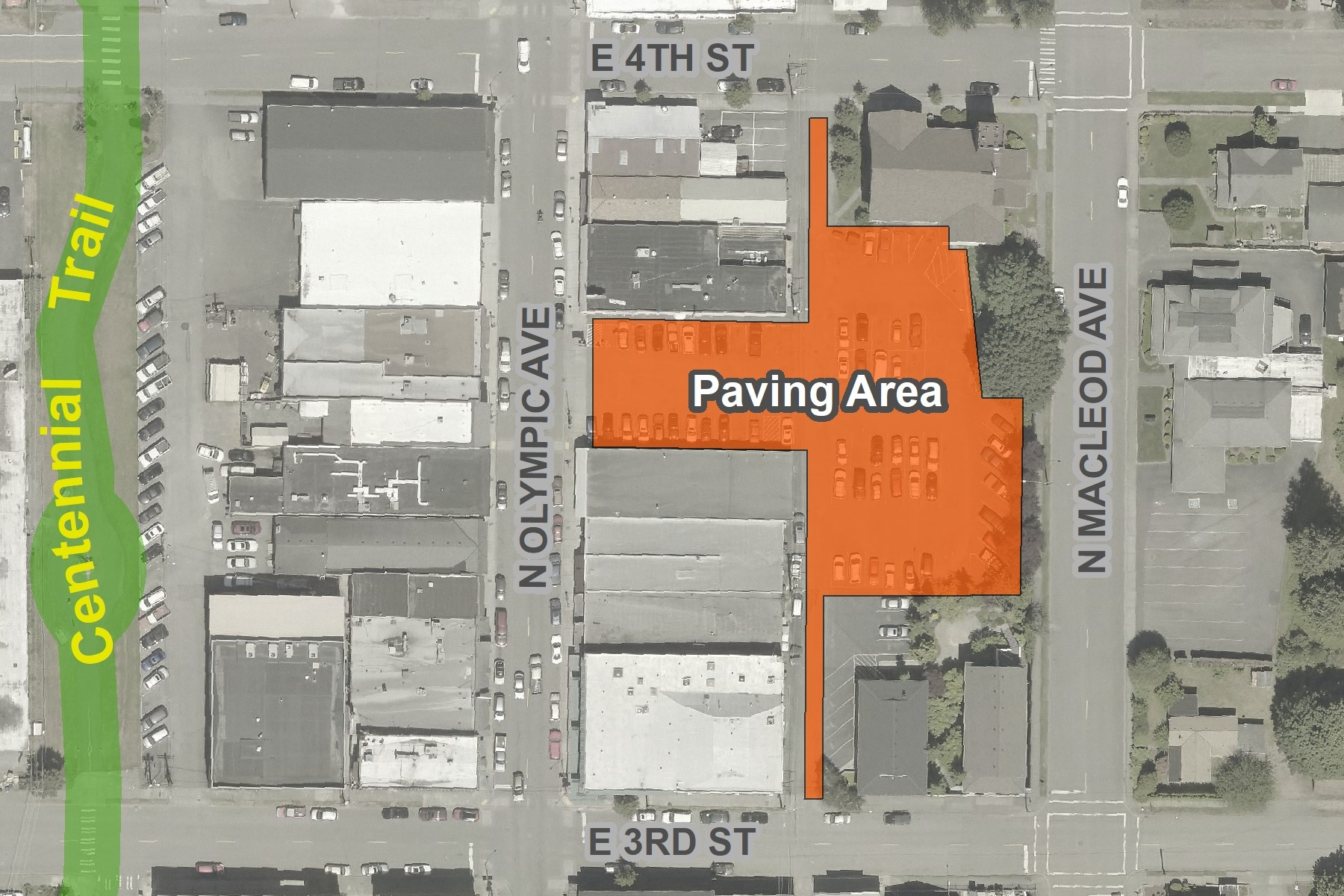 Map showing area of Merchants parking lot on Olympic Avenue between 3rd and 4th Streets that is to b