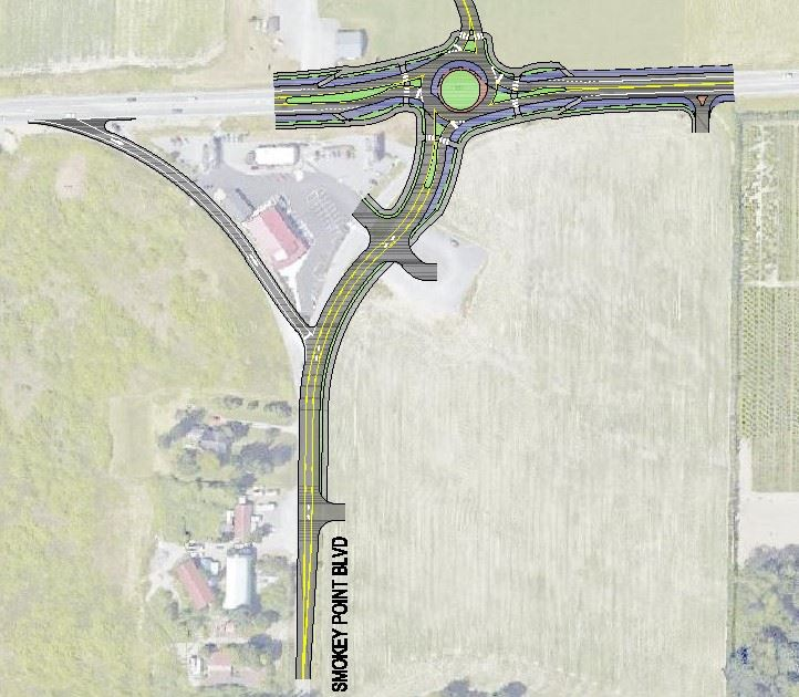 Preliminary sketch of roundabout to be constructed at SR-530 and Smokey Point Blvd